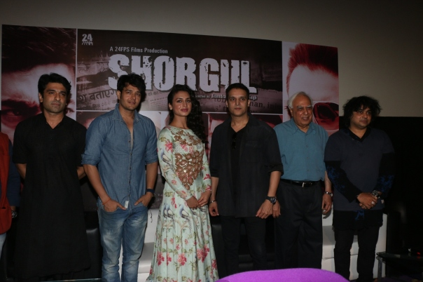 From L- R - Eijaz Khan, Annirudh Dave, Suha Guzen, Jimmy Shergill, Kapil  Sibal, Niladri Kumar at Shorgul Music Launch