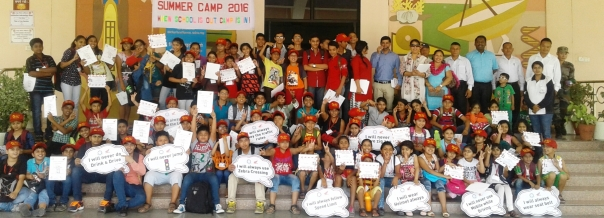 School children at Honda Road Safety Summer Camp, Honda Traffic Training Park, Jaipur.jpg
