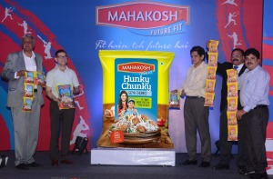 L-R_Mr. Satendra Aggrawal, COO_ Mr. Nitesh Shahra, Director and Mr. Pradeep Koolwal, Director unveiling Mahakosh Hunky Chunky in Indore